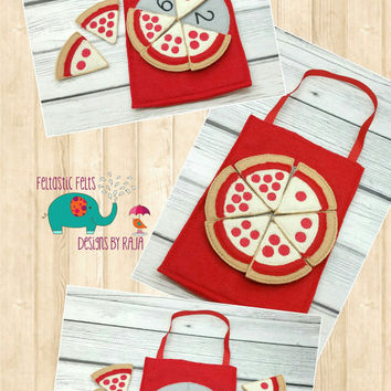 On Sale 15% Off Pizza Counting game embroidered, montessori, home school, homeschool, math game, counting game, children, toy, learning, edu