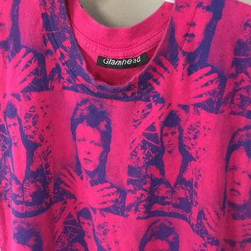 David Bowie Top, Hot Pink 1980s Sleeveless Tshirt Vintage 80s David Bowie Shirt 80s Rocker Ziggy Stardust 80s Tank Top Crew Neck Halloween M