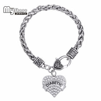 Bracelets Awareness Medical Alert Charm Bracelet White Rhinestone Heart for women