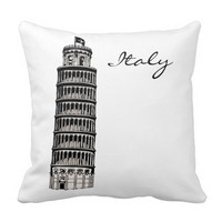 Black and White Italy Passport Pillow