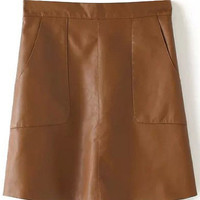 Coffee Colored Pencil Leather Skirt