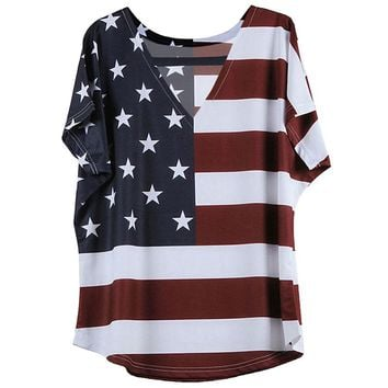 Sexy V-neck Short Sleeve Stripe Plus Size Women 5xl American Flag T-shirt Women's Clothing SY1124Z