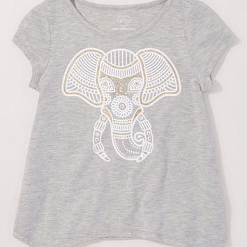 Gray Elephant Sidetail Top - Girls