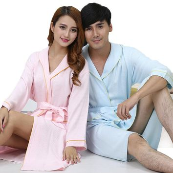 Bamboo Fiber women bathrobe men nightgown sleepwear blanket towel robe lovers long soft robe spring summer autumn