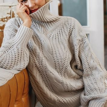 Fireside Romance Taupe Long Lantern Sleeve Cable Pattern Knit Turtleneck Pullover Sweater