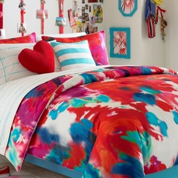 Teen Vogue Groovy Flower Power Art Twin Comforter Set Red + Bonus