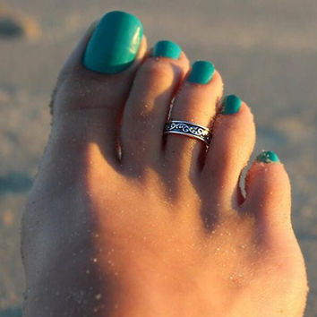 3pcs Women Retro Silver Toe Rings Set Foot Beach Jewelry Birthday Party Gift for Family Friend Adjustable Graduate Gift, Inspirational Ring, Journey, Nautical Ring, Travel Ring Toe Ring (silver-and-stainless-steel)