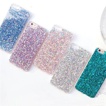 Flashing Powder Glitter Case for iPhone 8 8 Plus Peacock Green Soft Silicone Mobile Phone Shell For 7Plus 6plus 6s Hoesjes 427C