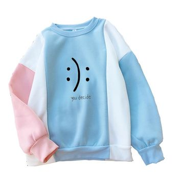 You Decide Expression Print Harajuku Casual Fleece Pullovers Women Raglan Spell Color Stitching Kawaii Hoodies Sweatshirt Female