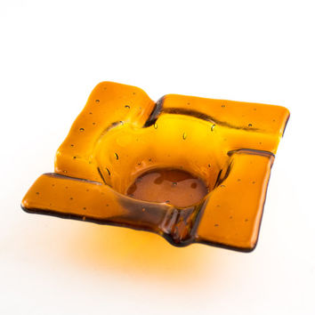 Amber Glass Ashtray, Cigar Ash Tray, Smoking Accessories, Square Design, Cigarette Tray, Fused Glass, Unique Gifts for Men, Cigar Gifts