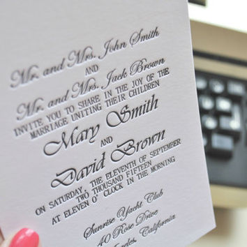 Custom letterpress wedding invitations; letterpress RSVP cards, letterpress save the date cards