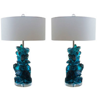 Pair of Rock Candy Lamps by Swank Lighting in Teal Blue