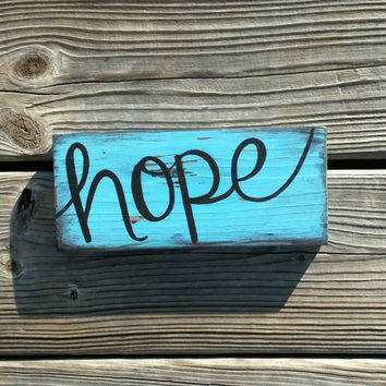 HOPE Distressed Reclaimed Wood Hand Painted Sign Stocking Stuffer