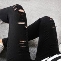 2016 New Summer Hole Ripped Jeans for Women Pencil Pants Pants Stretch Skinny Jeans Woman Black Blue Pants Trousers