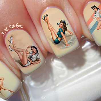 Vintage Women Nail Decals