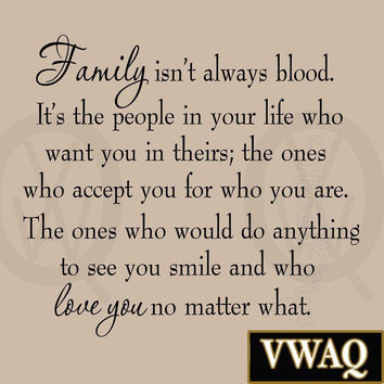 Family Isn't Always Blood Wall Decal Saying Home Decor Stickers Quotes Vinyl ...