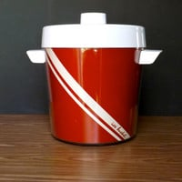 Vintage Red Ice Bucket Red and White Ice Bucket 1980's Dart Ice Bucket