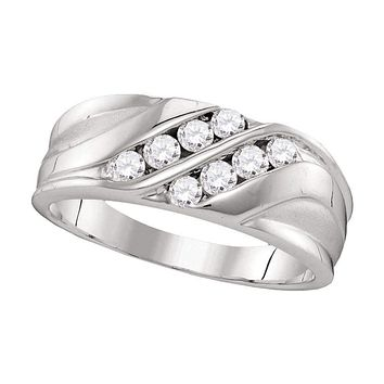 10kt White Gold Men's Round Diamond Wedding Band Ring 1/2 Cttw - FREE Shipping (US/CAN)