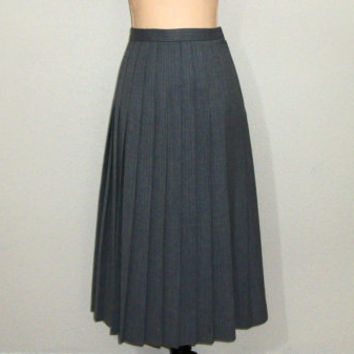 Gray Skirt Pleated Skirt Size 8 Wool Skirt Fall Winter Midi Skirt Tweed Skirt Career Clothing Warm FREE SHIPPING Size Medium Womens Clothing