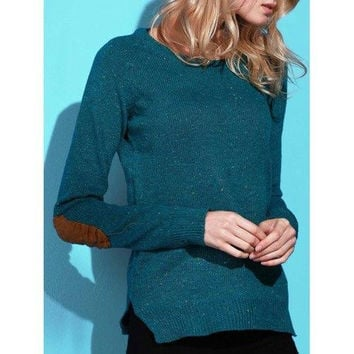 Stylish Back Buttoned Elbow Spliced Pullover Sweater For