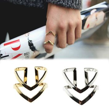 Summer New Rings Letter Double V shaped Ring Women Half Opened Adjustable Vintage Rings Gold Silver Colors