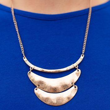 Gold Crescent Plate Statement Necklace