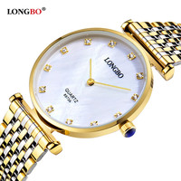 LONGBO Brand Luxury Gold Couple Watches Business Style Lovers Men Women Waterproof Quartz Charms Analog Wristwatches