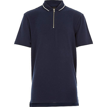 River Island Boys navy textured zip neck polo shirt