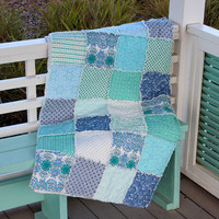 Rag Quilt Lap Quilt Couch Throw, Angela Walters Drift Fabric Aqua, Sea Green, Ocean Blue Made to Order