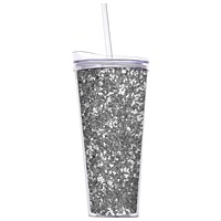 Slant Double Wall Glitter Tumbler with Straw 22 OZ