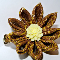 White, black, orange and yellow kimono fabric kanzashi hair flower clip