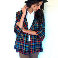 SALE 20% OFF Vintage Blouse Colorful Plaid Blouse Long Sleeve Blazer Blouse 100 Percent silk