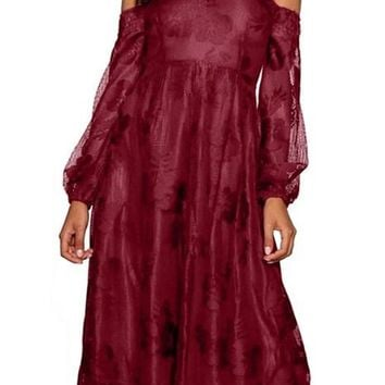 Burgundy Bardot Embroidered Gauze Sweetheart Party Dress