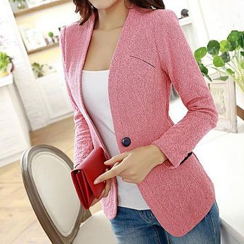 New 2016 Hot Spring And Autumn Women's Casual Blazer  Solid color Single Button Cardigan Slim Coat S-XXL Size