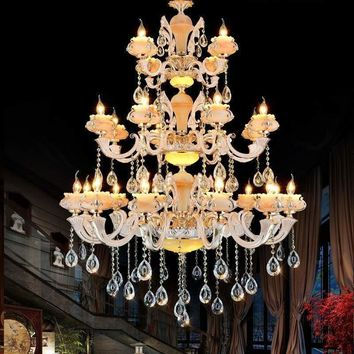 Hotel Hall 24 pcs Alloy Gold chandelier light modern marble jade luxury high ceiling candle holders chandelier for living room