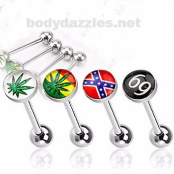 Assorted Logo Tongue Ring 14ga 316L Surgical Steel Barbell with Epoxy Domes Ball