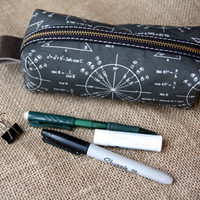 Math pencil case / pen case.  Linen canvas and black leather.