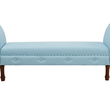 Elise Roll-Arm Bench, Light Blue, Entryway Bench
