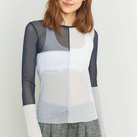 Light Before Dark Mesh Panel Long Sleeve Top - Urban Outfitters