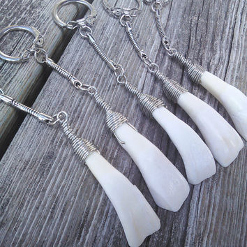 Real Buffalo Tooth Key chain, Bone keychain, Real animal teeth Key chain,Shaman Key chain, Gypsy keychain,Taxidermy oddities keychain Larp