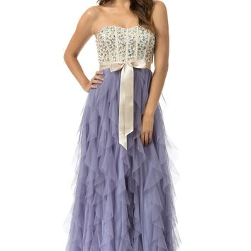 Teeze Me | Queen Colleen Strapless Corset Jewel Beaded Full Tulle Ruffle Skirt Party Dress | Champagne/Lilac