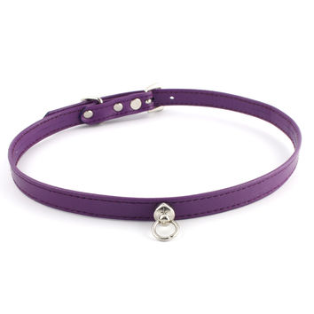 Purple and Silver Leather Choker