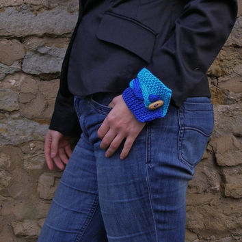 Wrist cuff bracelet ~ Turquoise and Blue knit cotton wristlet ~ Unique gift for daughter, son, back to school present
