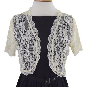 Plus size Victorian Wedding Bridal Lace Short Sleeve Cropped Bolero Jacket
