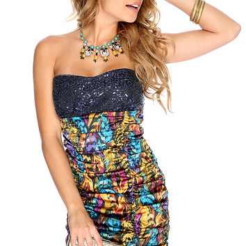 Sexy Marigold Purple Watercolor Sequins Strapless Party Dress