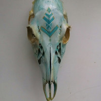 Blue patina hand-painted deer skull
