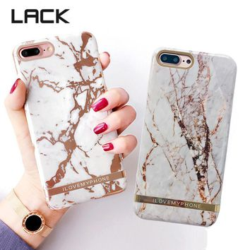 LACK Luxury Glossy Marble Phone Case For iphone 8 8Plus Rose Gold Exquisite Granite Stone Hard Back Cover Best Gift For Friend