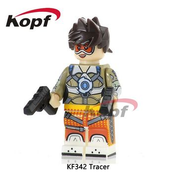 Single Sale Tracer Spiderman Captain America Yoda Firestorm Chuck Norris Super Heroes Building Blocks Children Gift Toys KF342