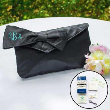 Black Bridesmaid Clutch with Survival Kit