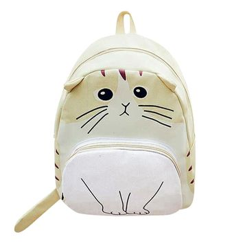 3D Cartoon Cat Printing Canvas Large Capacity Bookbag Backpack 4 Colors